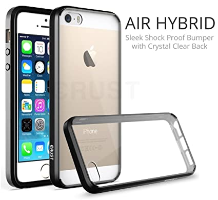 online store b8e9e 6a9e0 Crust Air Hybrid Clear Back Cover for Apple iPhone SE/iPhone 5S / iPhone 5,  Ultra Slim Fit Shock Absorption Bumper Case with Anti Scratch Crystal ...