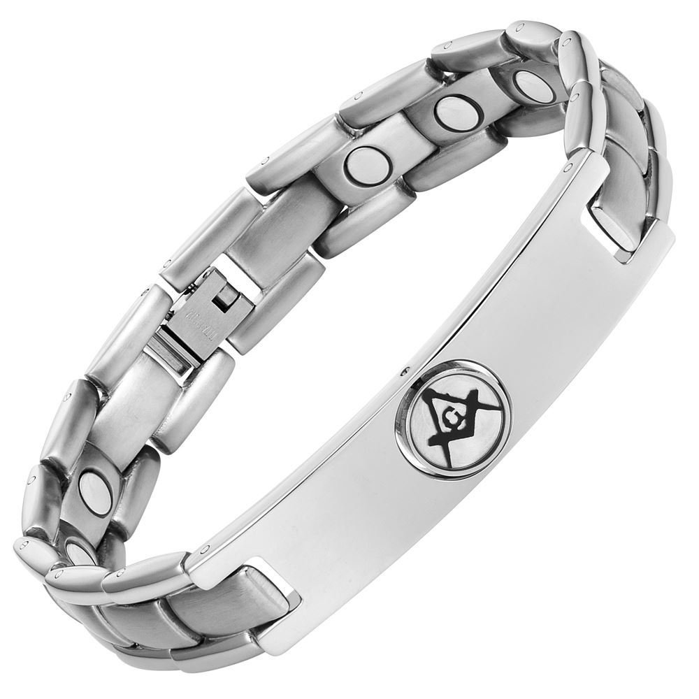 MasonicMan Men's Titanium Magnetic Reversible Masonic Bracelet Adjustable