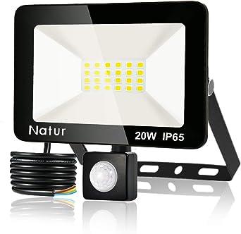 20w Foco led exterior con Sensor Movimiento 2200lm Led Proyector para Exterior Iluminación IP66 ,6000K blanco frío, luz led para Jardín, Garaje, Bodega y Patio[Clase de eficiencia energética A++] (1pack, 20W): Amazon.es: