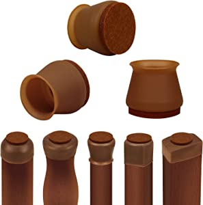 Chair Leg Protectors for Hardwood Floors, 16 PCS Silicone Chair Leg Floor Protectors with Indivisible Felt Pads, Move Furniture Quietly and Protect Your Floors from Scratches