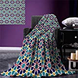 smallbeefly Arabian Throw Blanket Retro Illustration Nostalgic Arabesque Antique Geometric Star Baroque Motifs Warm Microfiber All Season Blanket Bed Couch 50''x30'' Red Blue Yellow