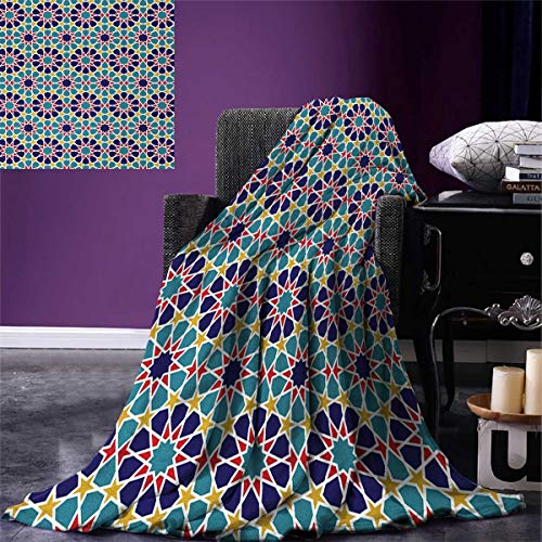smallbeefly Arabian Throw Blanket Retro Illustration Nostalgic Arabesque Antique Geometric Star Baroque Motifs Warm Microfiber All Season Blanket Bed Couch 50''x30'' Red Blue Yellow by smallbeefly