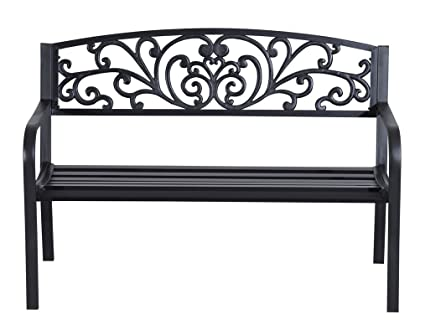 Great Blossoming Decorative Metal Garden Bench In Black Color With Seating  Capacity Of 2