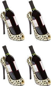 Hilarious Home High Heel Wine Bottle Holder - Stylish Conversation Starter Wine Rack (Leopard Print, Set of 4)