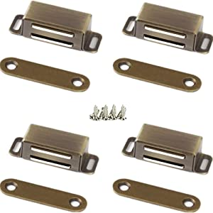 Kitchen Cabinet Magnets Closure WENJUUS 4 Pack Cabinet Magnetic Catch Strong Cupboard Door Magnets Heavy Duty 15 lbs Metal RV Drawer Latch Closet Closing Stainless Steel Shutter Hardware Closer-Bronze