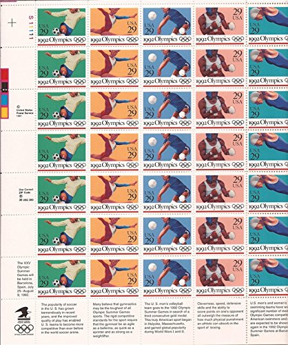 Games 1992 Olympic (Summer Olympics 1992 Collectible Stamp Sheet Scott 2637-41)