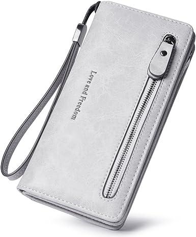 Premium Soft Leather Bifold Long Card Checkbook Holder Wallet Organizer Purse