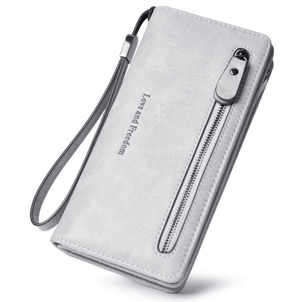 Women Wallet Wristlet Leather Ladies Long Bifold Clutch Checkbook Credit Card Holder Organizer Purse gray