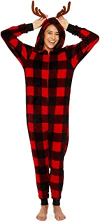 Secret Santa Women's Buffalo Check with Antlers Long Sleeve One Piece Costume Pajama Onesie