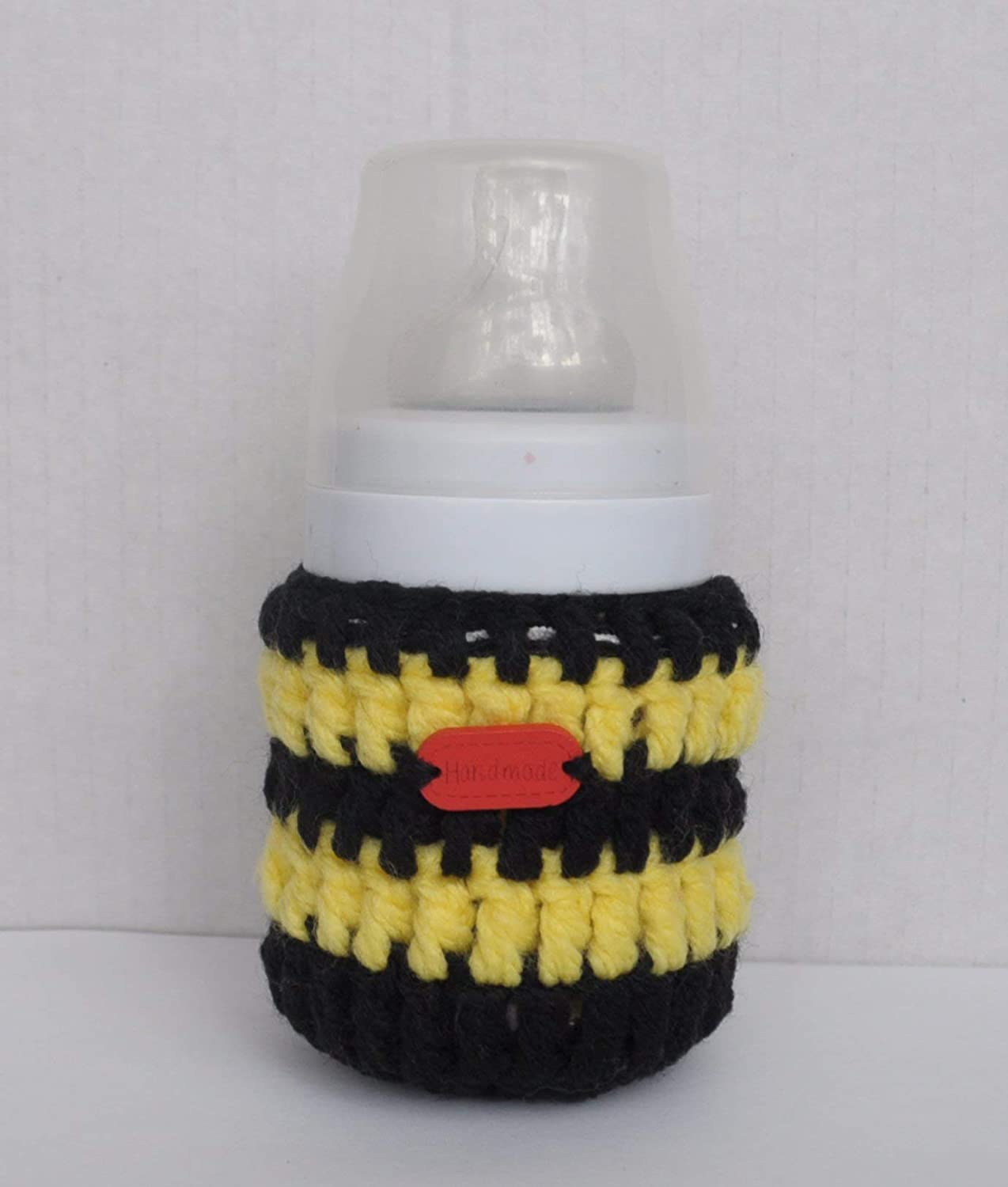 Striped Bee Themed Baby Bottle Cover 125ml - Black and Yellow