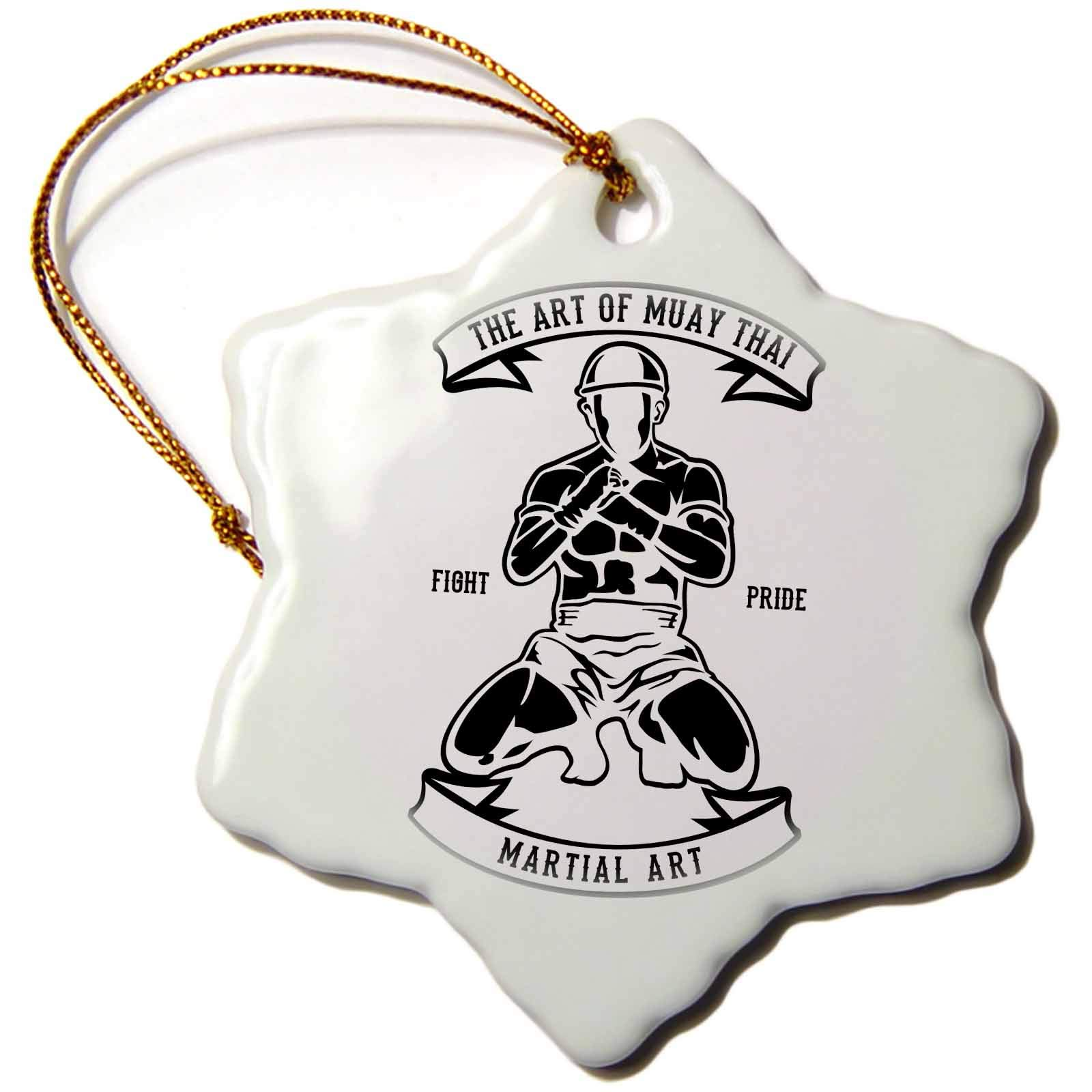3dRose Alexis Design - Vintage - Image of Martial Arts Fighter. The Art of Muay Thai. Fight Pride - 3 inch Snowflake Porcelain Ornament (ORN_292303_1)