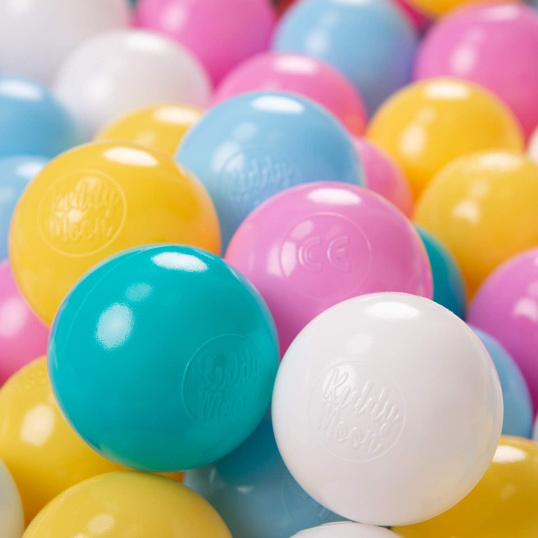 KiddyMoon 100 ∅ 6Cm Bolas Colores De Plástico para Piscina Certificadas para Niños, Blanco/Amarillo/Rosa/Azul Celeste/Turquesa