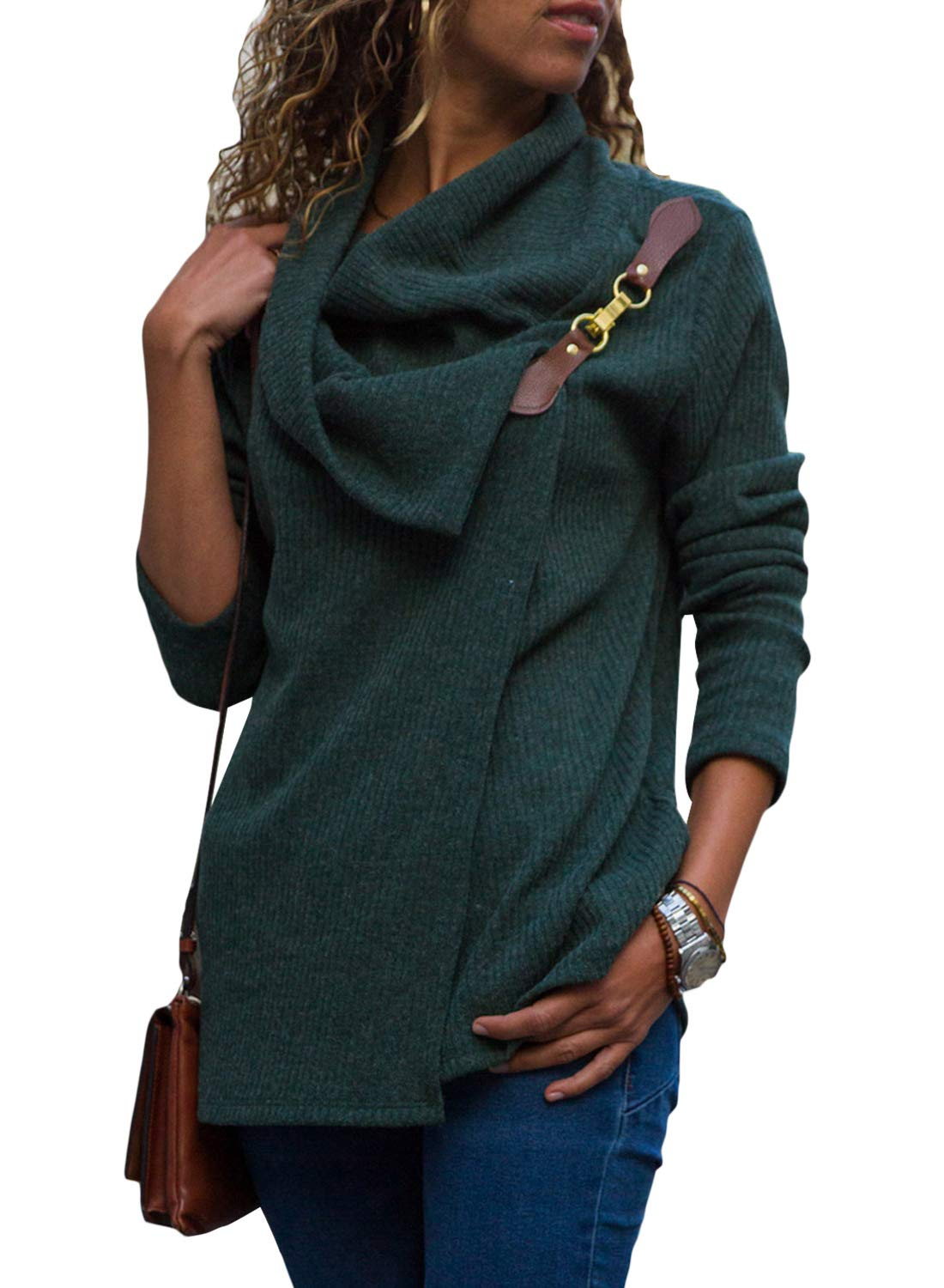 LOSRLY Women Cowl Neck Wrap Front Cabel Kintted Pullover Sweater Coat Long Sleeve Sweatshirts Outwear YL251319