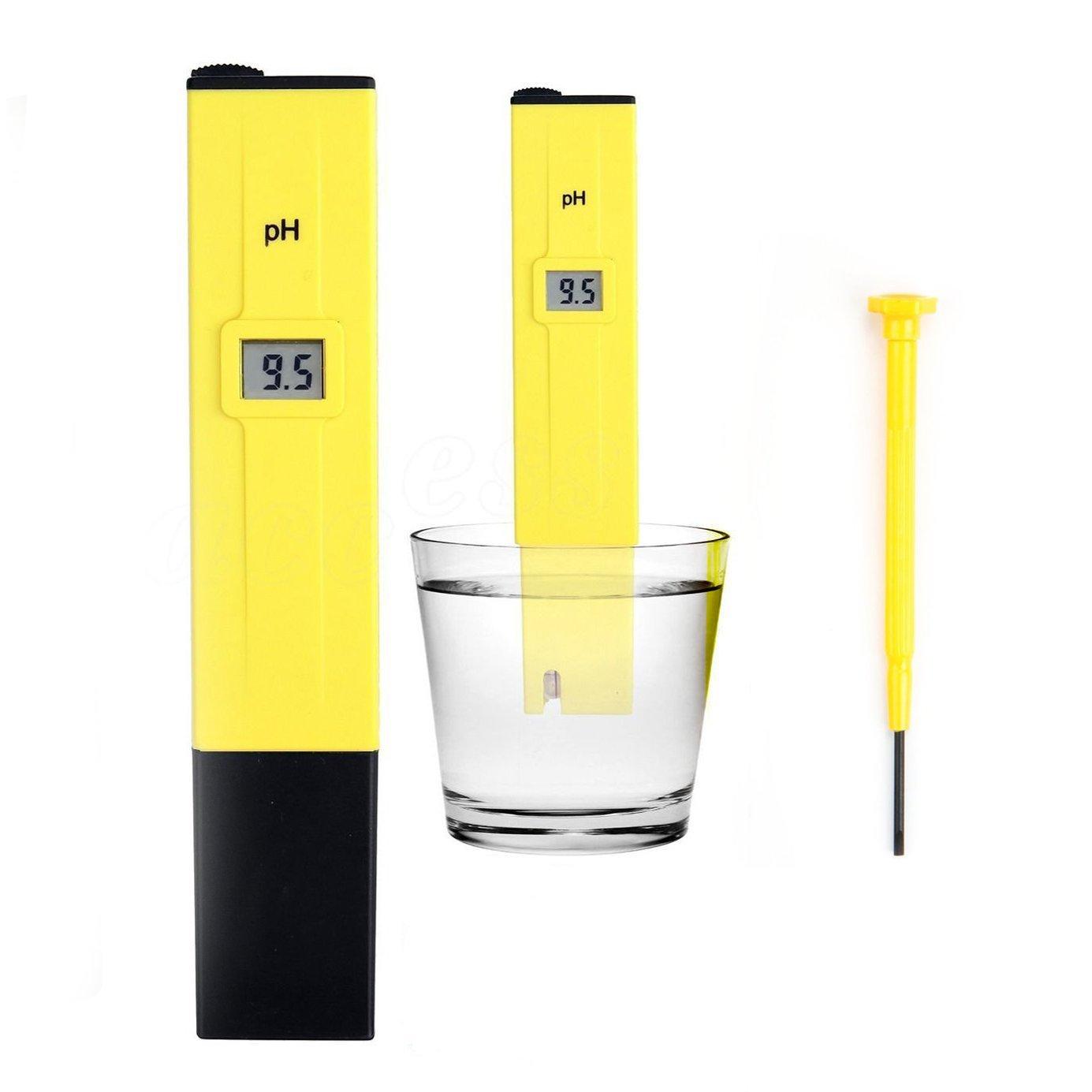 UZZO 0.01 Resolution High Accuracy Pocket Size Handheld pH Meter Pen Tester 0-14 pH Measurement Range with LCD Backlight Display (Model:PH-107) Yellow