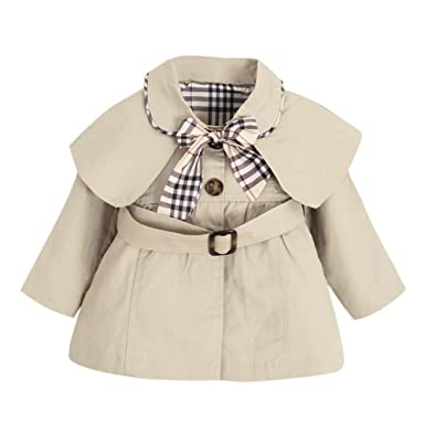 a4a83669dd74 De feuilles Chic-Chic Toddler Baby Girls Bowknot Trench Coat with ...