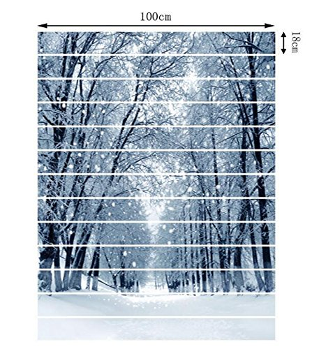 """FLFK 3D Winter Snow Forest Stair Risers Sticker Removable Wall Stickers Home Decor 39.3\""""x7\""""x13PCS"""