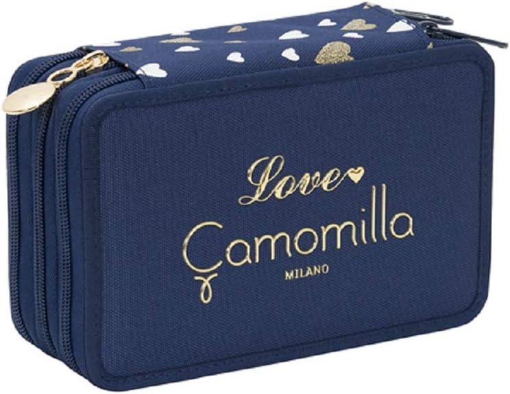 Estuche escolar Camomilla azul triple completo 3 cremalleras 19 x 13 x 6 cm: Amazon.es: Oficina y papelería