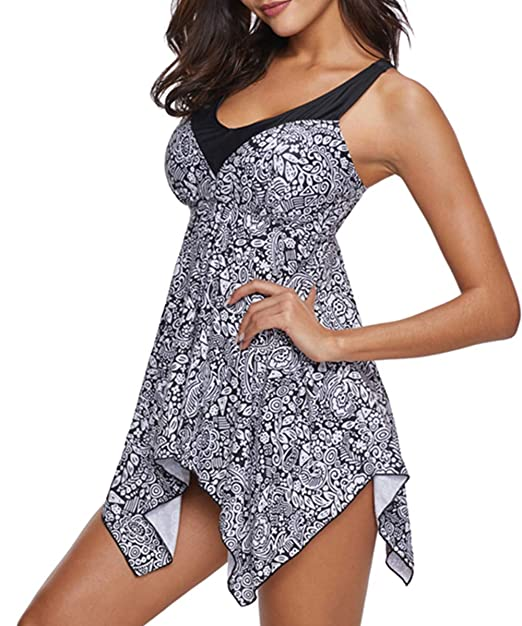 Womens Swimsuits Plus Size Tankini 2 Piece Swimwear Bathing Suits Cover Up Swimdress