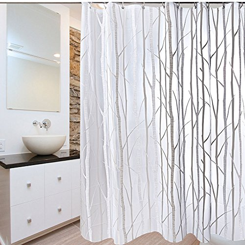 Uphome PEVA Bathroom Shower Curtain, Birch Forest Pattern - Waterproof and Durable Bath Curtain Liner Design (72