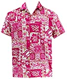 LA LEELA Aloha Hawaiian Tropical Beach Solid plain Mens Casual Short Sleeves Button Down Tropical Shirts L Pink
