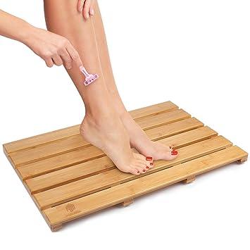 BAMBUROBA Bath Shower Mat Bamboo Bathroom Floor Non Sliding Square Spa Sauna  Mat With 22x15