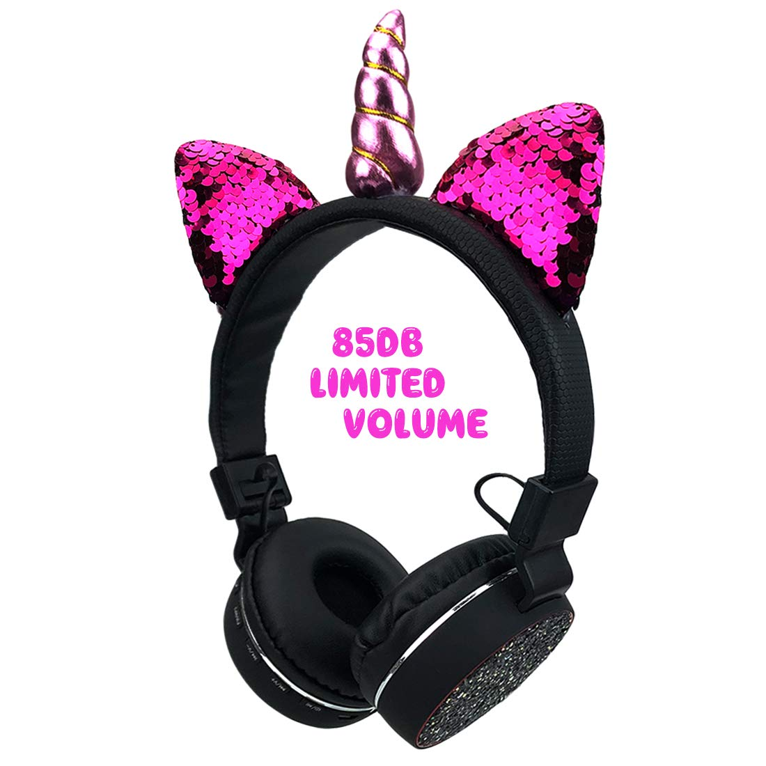 Unicorns Headphones Kids Cat Ear Bluetooth Headphones Wireless Foldable Headset with Mic Support TF Card, Aux in