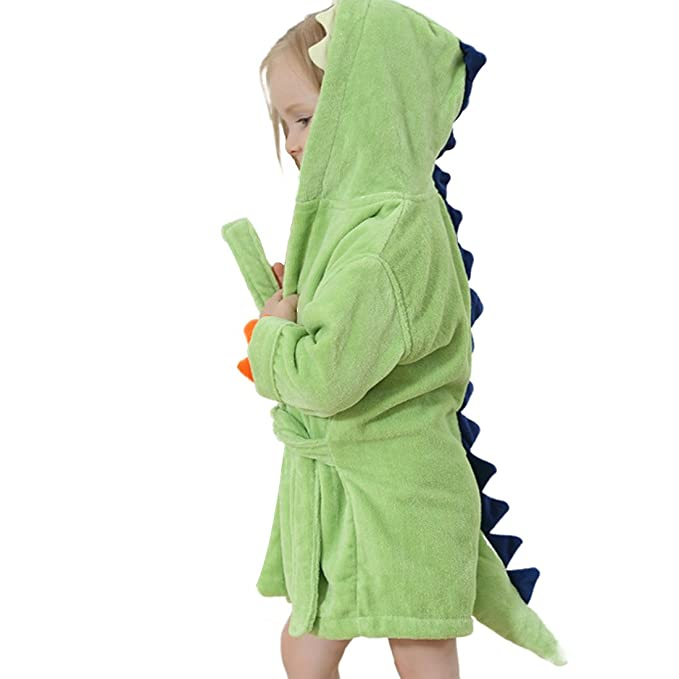 GWELL Niños Bebé Albornoz con Capucha Toalla de Baño Toalla con Capucha Pijamas Ropa de Dormir Terciopelo Animal Dinosaurio Motivo para Niña Niño Verde 3-6 ...