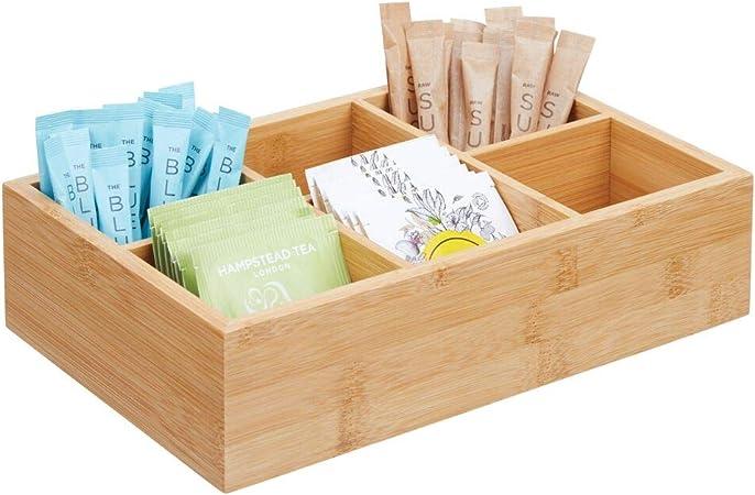 mDesign Caja de almacenaje de madera – Caja de madera con 6 apartados para bolsitas de té,