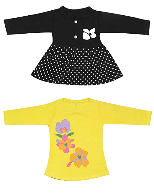 77efac763 Babeezworld Regular Daily Wear Baby Girl's Cotton Full Sleeves Vest Jhabla Frock  Dress & Girl Printed Cotton Full Sleeve Tshirt Set (Kids Combo Pack of 2)