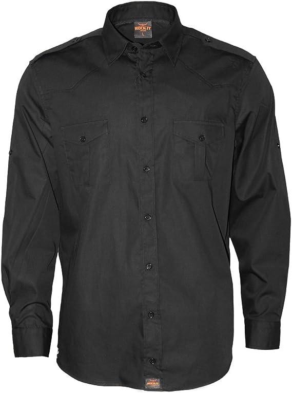 ROCK-IT Apparel® Camisa de Hombre de Manga Larga Aspecto Militar Camisa Worker de Tiempo Libre Fabricada en Europa Tallas S-5XL