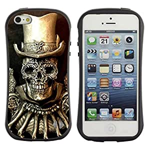 LASTONE PHONE CASE / Suave Silicona Caso Carcasa de Caucho Funda para Apple Iphone 5 / 5S / Golden Top Hat Death Skull Bling