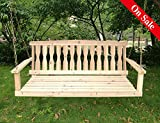 Wooden Garden Furniture Songsen Outdoor Unfinished 4FT Wooden Porch Swing Chair Patio Deck Garden Furniture