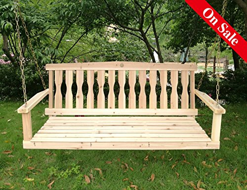 Songsen Outdoor Unfinished 4FT Wooden Porch Swing Chair Patio Deck Garden Furniture - Unfinished Swing
