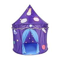 Virhuck Tente Pliable Robuste avec Sac Enfant Jouet Interieur Extérieur Adorable Château Playhouse,Thème de l'espace Tente Princesse, Plein Air Cadeau Idéal Noël Anniversaire