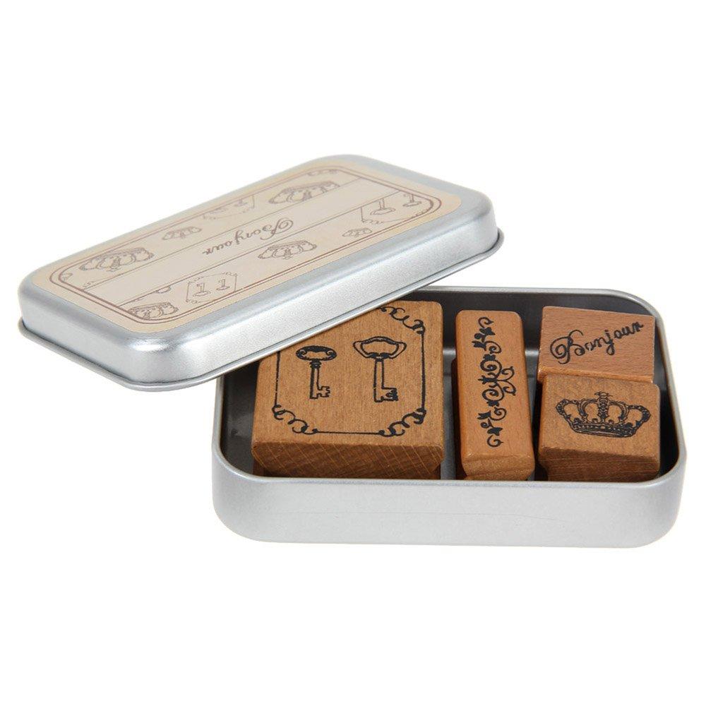 Vanker timbri di gomma francese Craft vintage in legno timbro di gomma contenitore di ferro Bonjour
