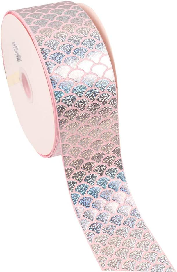 "Tvoip 1"" 25mm Mermaid Printed Colorful Laser Ribbon 10 Yards DIY Handmade Materials Wedding Party Decoration Home Textile Printed Ribbon (Pink)"