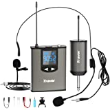 Travor Wireless Microphone System Headset/Lavalier Lapel Mic 164ft Range with Rechargeable Bodypack Transmitter…