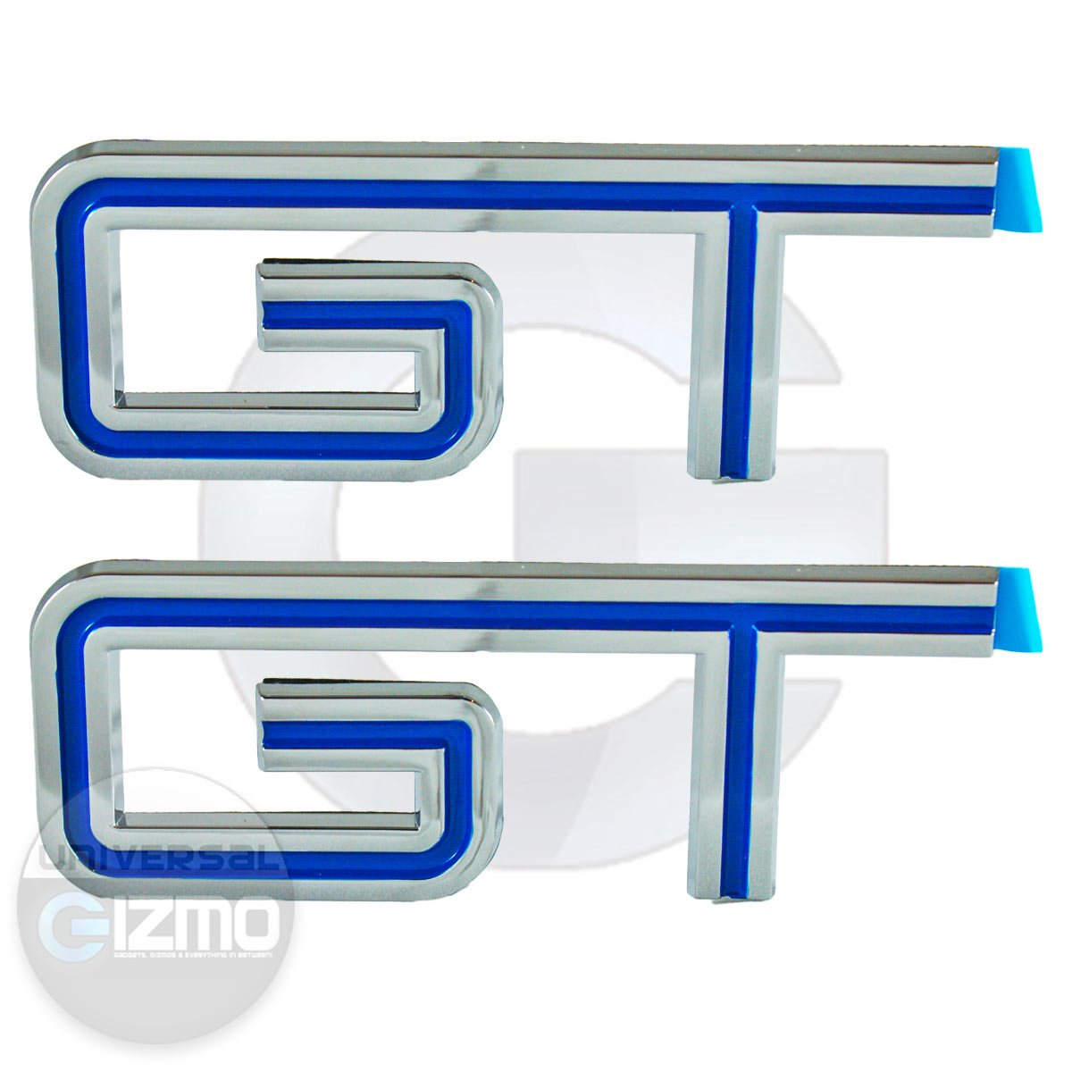 Ford Mustang GT Fender and Trunk Emblems Pair Blue Universal Gizmo