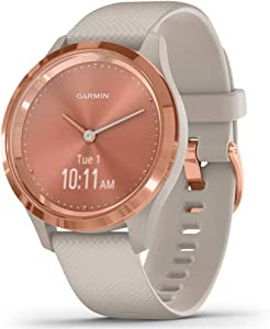 Garmin vívomove 3S, Hybrid Smartwatch with Real Watch Hands and Hidden Touchscreen Display, Rose Gold with Light Sand Case and Band