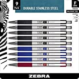 Zebra F-301 Ballpoint Pen, Retractable, 0.7mm, Assorted, 9 Pack (11169)