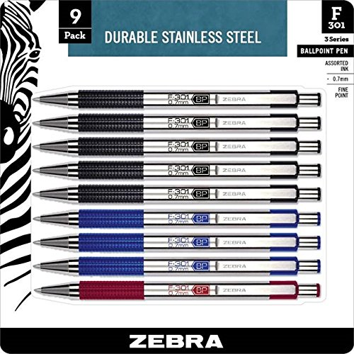 - Zebra F-301 Ballpoint Stainless Steel Retractable Pen, Fine Point, 0.7mm, Assorted Ink, 9-Count: Black, Blue, Red