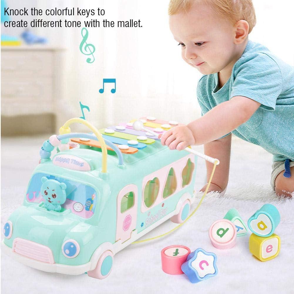 Voiture Jouet Bus V/éhicule Miniature Jouet Enfant 1 an de Formes /à Tirer et /à Empile Formes G/éom/étrique avec Instruments de Musique pour B/éb/é Cadeau