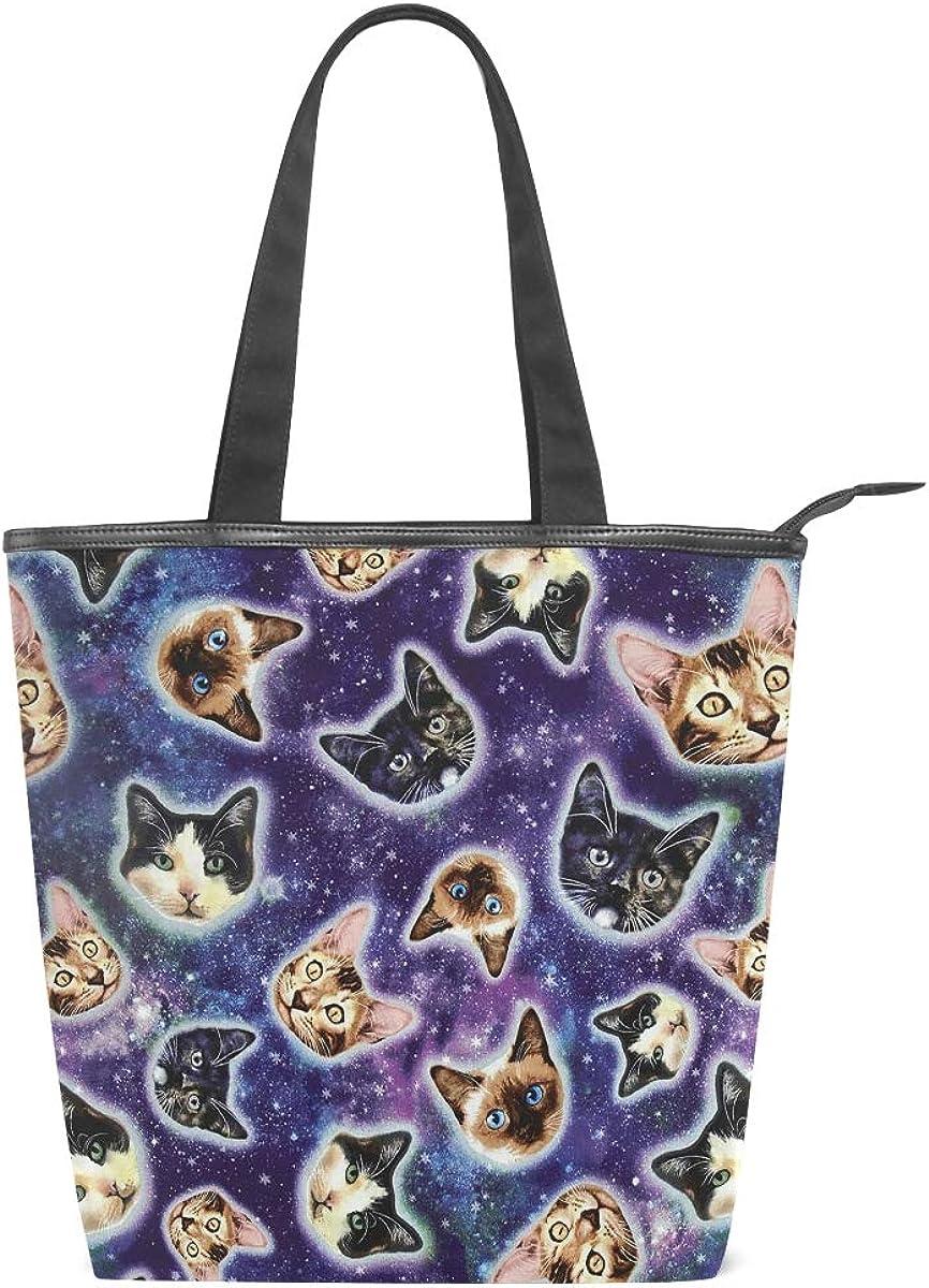 Galaxy Cats Canvas Top Handle Tote Bag Shoulder Bag Handbag for Women