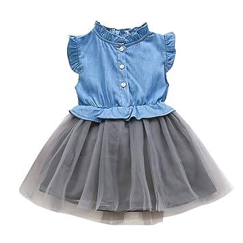 400fa9d01b738 ベビー用着ぐるみ 半袖 プチスカート Kohore 2019新作 ベビー服 子供用 デニムメッシュワンピース ドレス