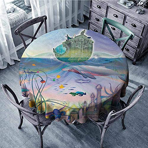 ScottDecor pad Round Tablecloth Navy,Ancient Underwater with Octopus and Castle Pirate Ship Coral Reefs Fantasy Art Print,Multicolor Circular Table Cover Diameter 54