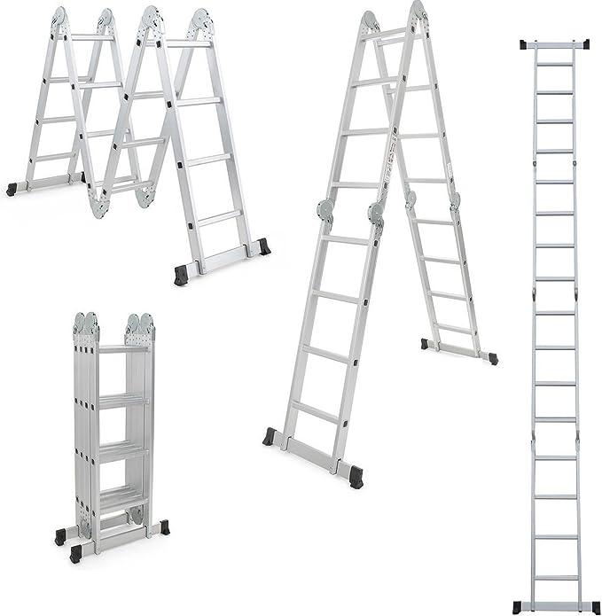 Escalera multifuncional profesional de 8 - 20 escalones, de Worktekk, de aluminio, plegable, de pintor: Amazon.es: Bricolaje y herramientas