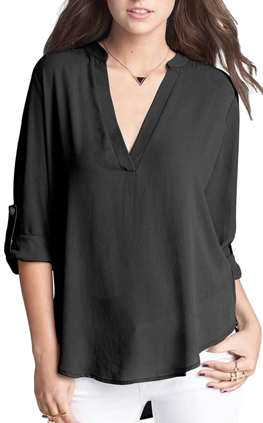1f95eb96f10e1c EVELUST Women's Roll Tab Sleeve Woven Shirt, Great With Leggings Tunic Cute  Versatile Top(Black, L) at Amazon Women's Clothing store: