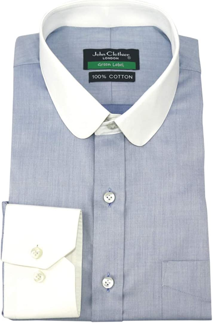 Club collar Mens Peaky Blinders style Penny collar shirt Sky Blue Round Gents