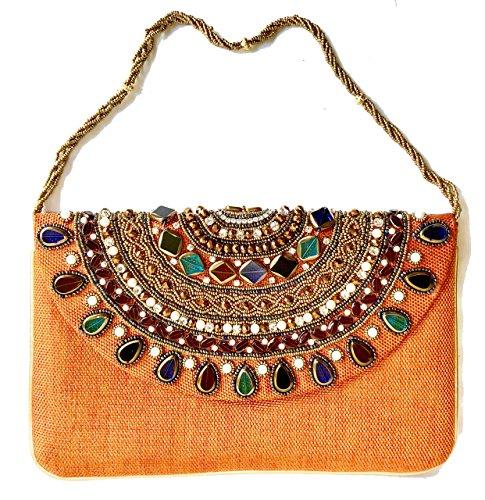 Amor Women's Beautiful Fashion Clutch Jewel Studded Jute Bag Purse Lady Handbag (Orange) -