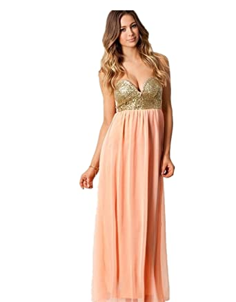 S06 CORAL GOLD BEADING Evening Dresses party full length prom gown ball dress robe (S